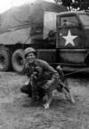 "1945 WWII with dog ""Duke"""