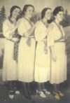 The Singing Henderson Sisters, Pauline, Ola Mae, Agnes, and Stella have this picture made in 1937.